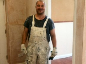 Mike the painter working Saturday and Sunday to finish Blagdon Hill School off ready for the new term