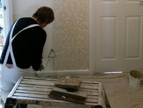 Rob hanging wallpaper in Wellington, Somerset